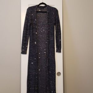 White House Black Market Blue Sequin Duster